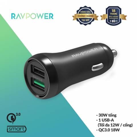 Sạc Xe Hơi 2 Cổng USB RAVPower 18W RP-PC086 Chính Hãng