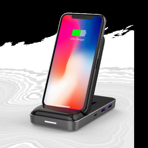 Đế Sạc Kiêm Cổng Chuyển HyperDrive 7.5W Wireless Charger USB-C Hub (HD258B)