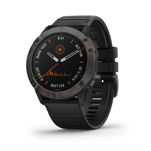 Đồng Hồ Garmin Fenix 6X - Titanium Carbon Gray DLC with Black Band,Pro Solar