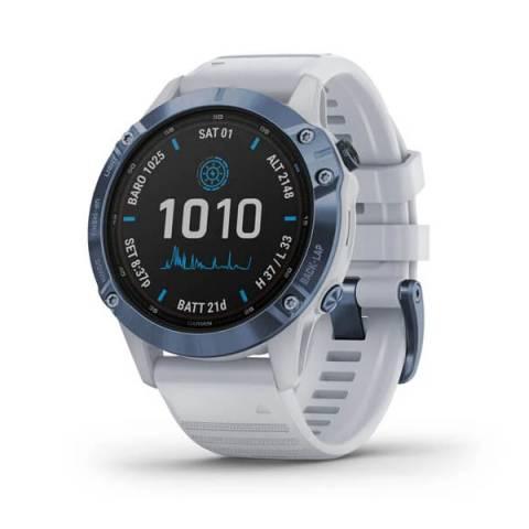 Đồng Hồ Garmin Fenix 6 Pro Solar - Cobalt Blue w/Whitestone Band, GPS, SEA_010-02410-41