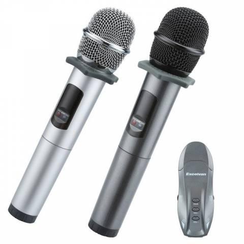 Micro Hát Karaoke Bluetooth Trên Ô Tô Excelvan K18U, 02 Mic, UHF