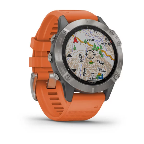Đồng Hồ Garmin Fēnix 6 - Sapphire, 47mm - Titanium with Ember Orange Band , GPS