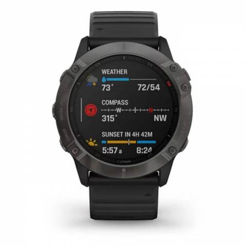 Đồng Hồ Garmin Fenix 6X Sapphire 51mm - Carbon Gray DLC with Black Band