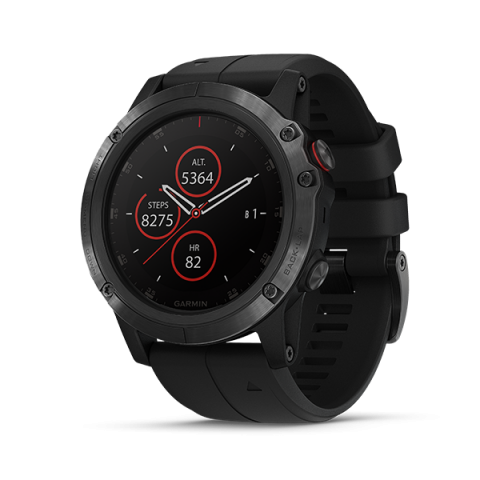 Garmin Fenix 5X Plus Sapphire 51mm, DLC Carbon Gray w/ Black Sport Band Chính Hãng